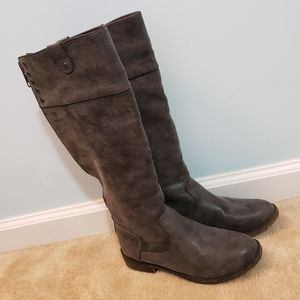 Tall Gray Boots with Red Zipper Size 6